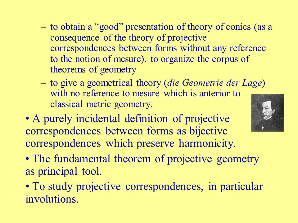 The fundamental theorem of projective geometry as principal tool.