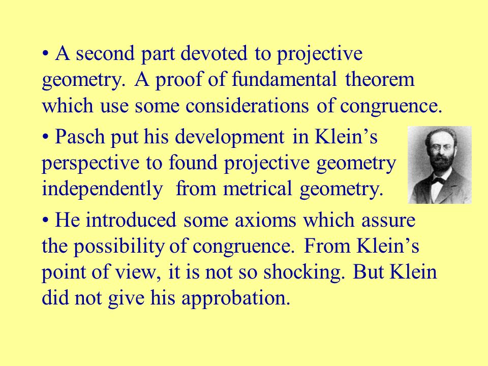 A second part devoted to projective geometry