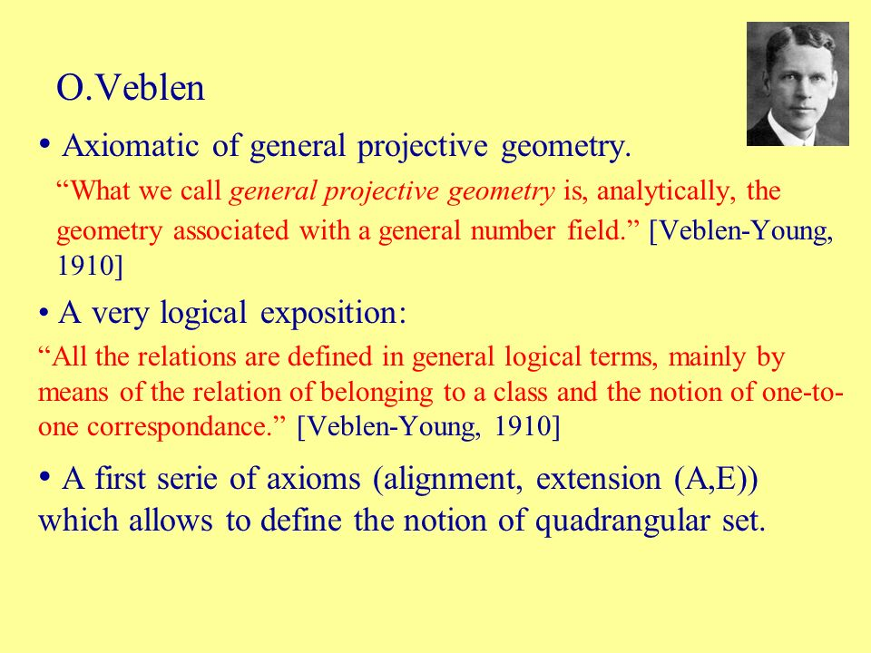 Axiomatic of general projective geometry.