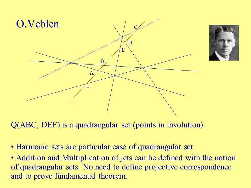 O.Veblen Q(ABC, DEF) is a quadrangular set (points in involution).
