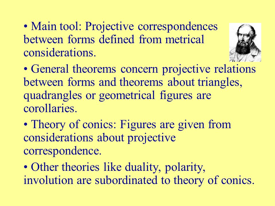 Main tool: Projective correspondences between forms defined from metrical considerations.