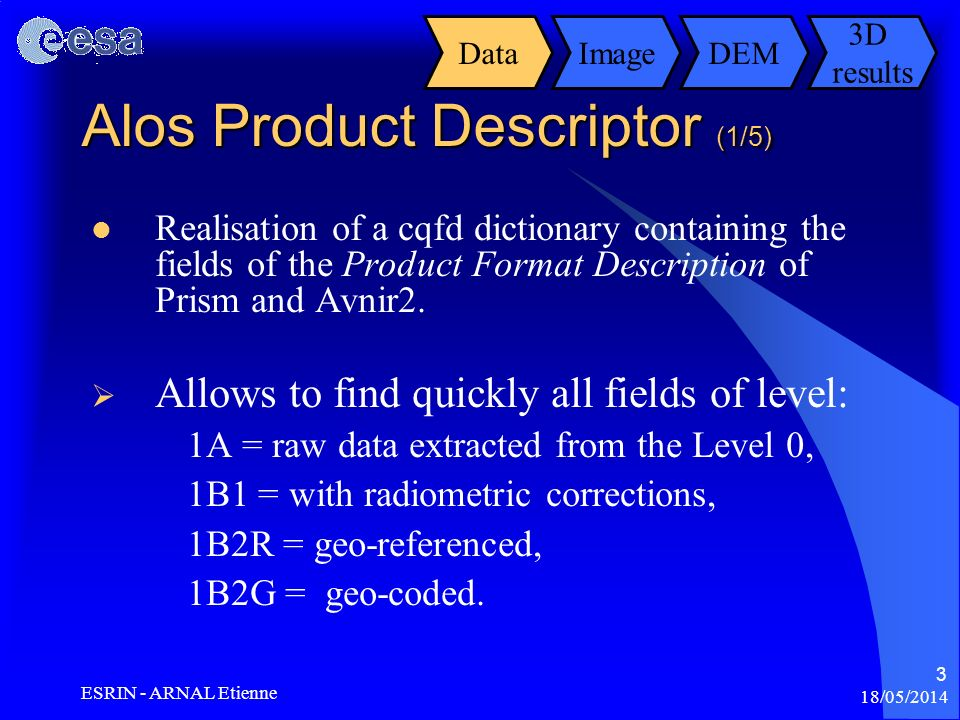 Alos Product Descriptor (1/5)
