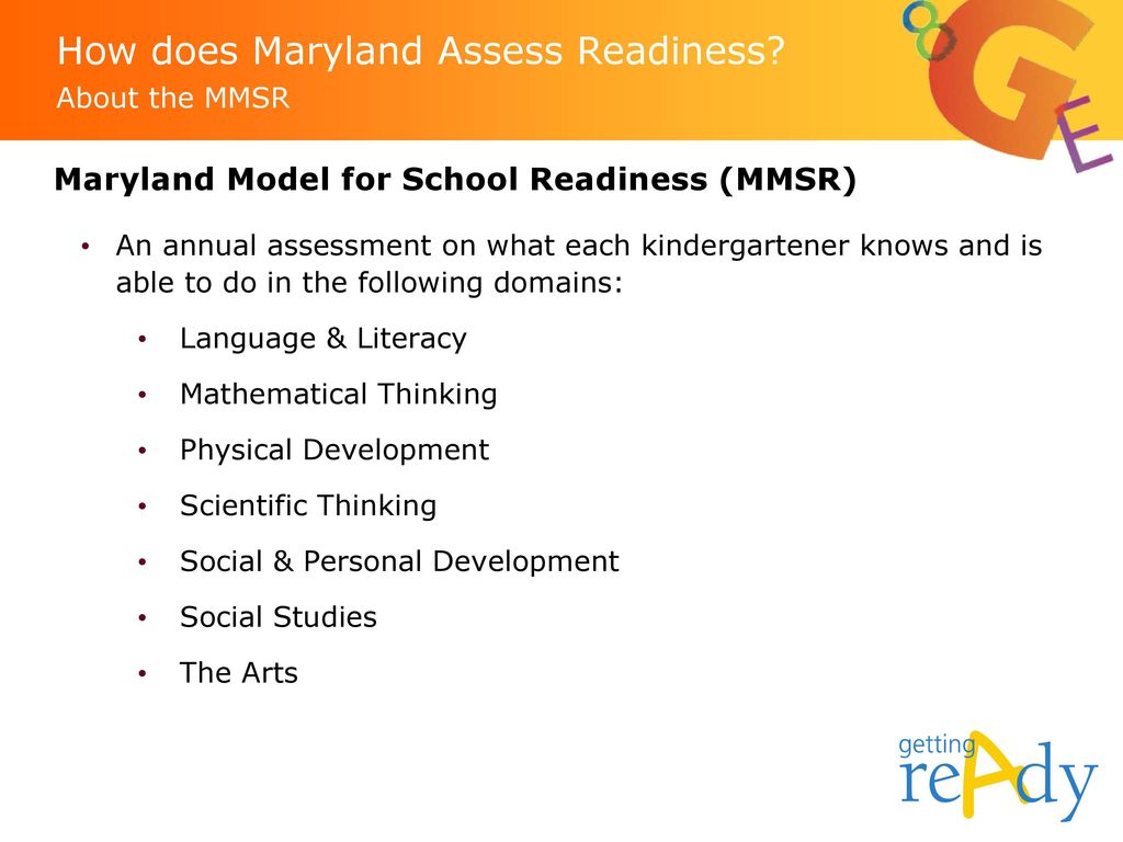How does Maryland Assess Readiness About the MMSR