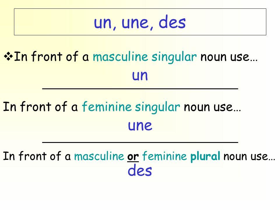 un, une, des un une des In front of a masculine singular noun use…