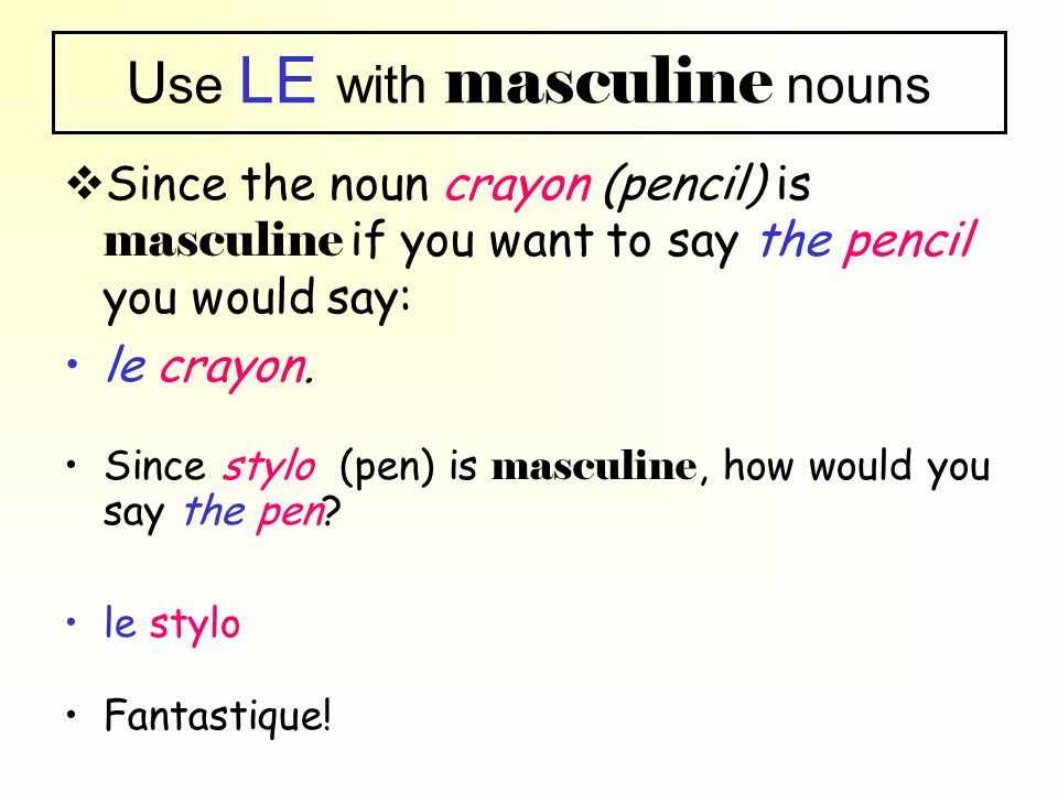 Use LE with masculine nouns
