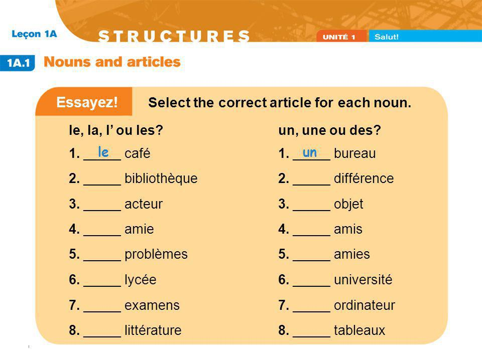 Essayez! Select the correct article for each noun.