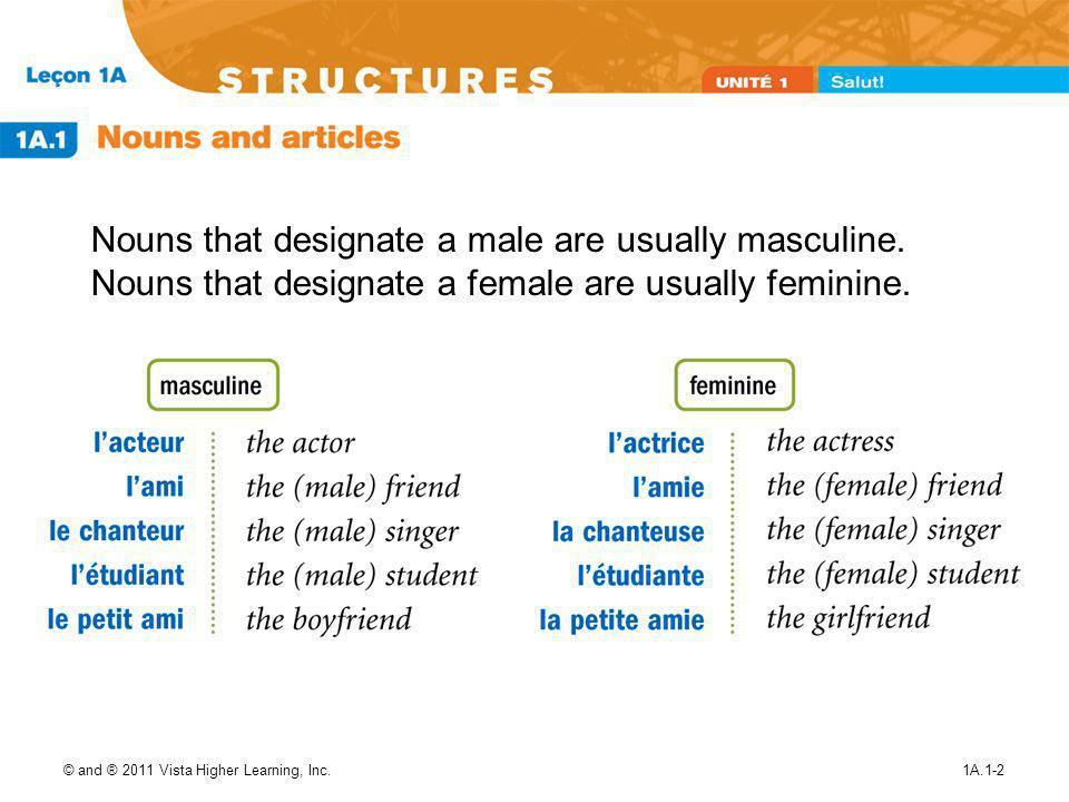 Nouns that designate a male are usually masculine