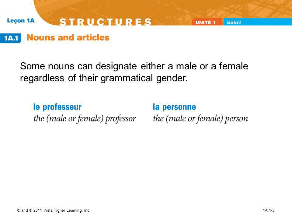 Some nouns can designate either a male or a female regardless of their grammatical gender.