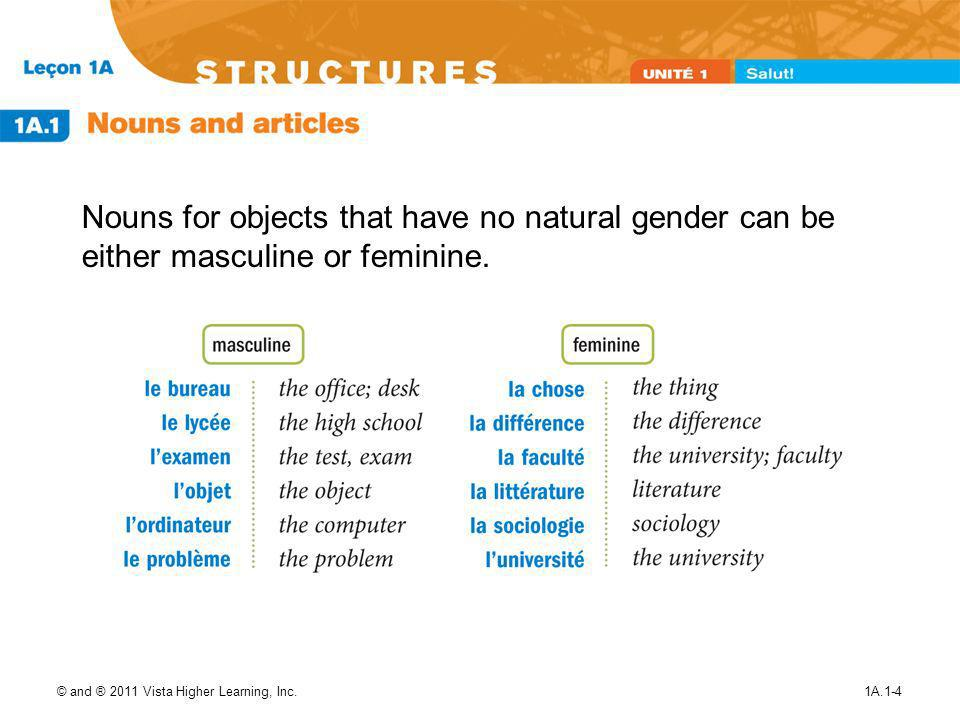 Nouns for objects that have no natural gender can be either masculine or feminine.