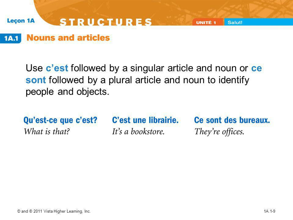 Use c'est followed by a singular article and noun or ce sont followed by a plural article and noun to identify people and objects.