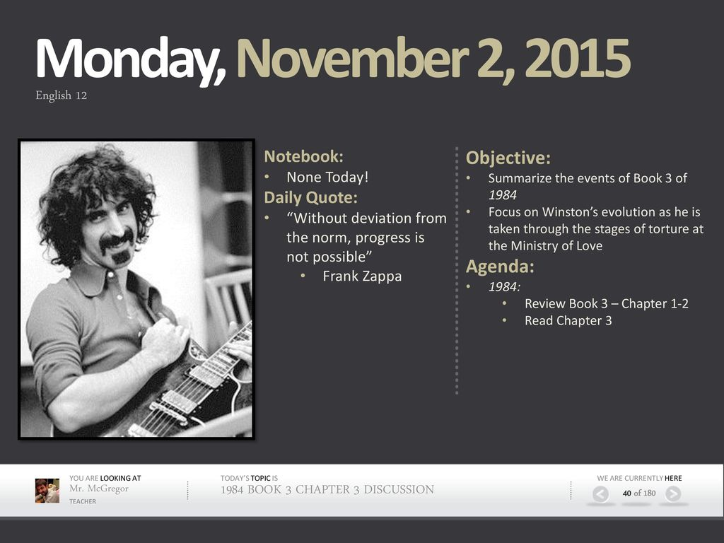 Monday, November 2, 2015 Objective: Agenda: Notebook: Daily