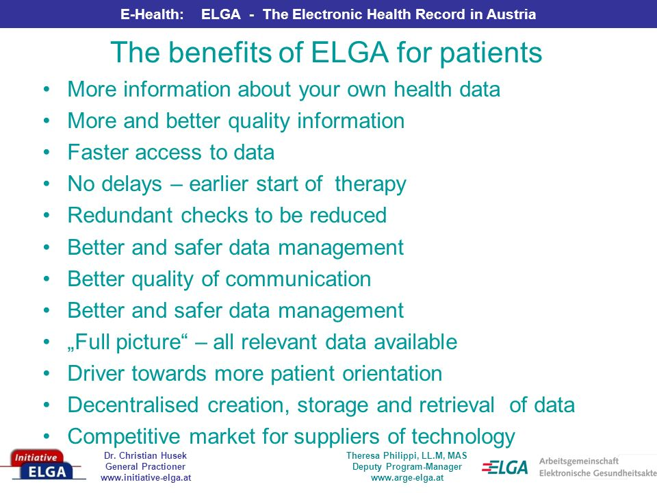 The benefits of ELGA for patients