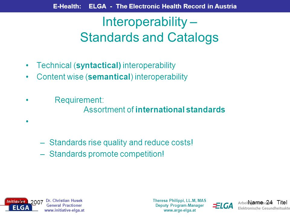 Interoperability – Standards and Catalogs
