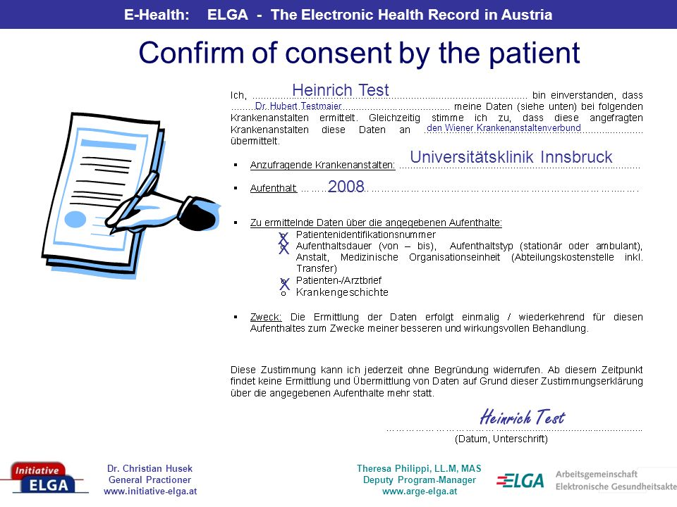 Confirm of consent by the patient