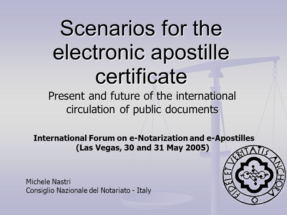 Scenarios for the electronic apostille certificate