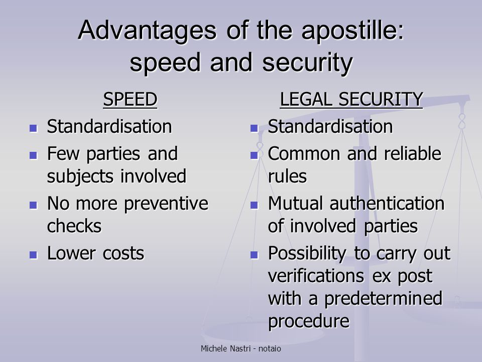 Advantages of the apostille: speed and security