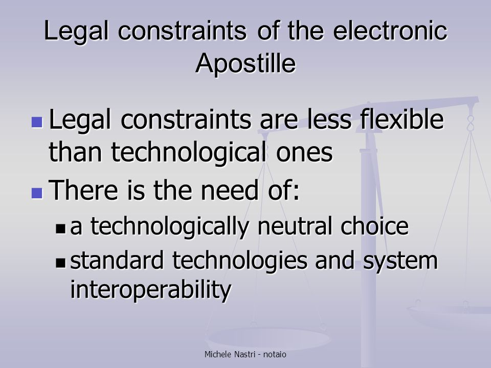 Legal constraints of the electronic Apostille
