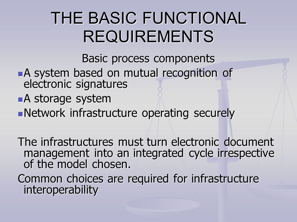 THE BASIC FUNCTIONAL REQUIREMENTS