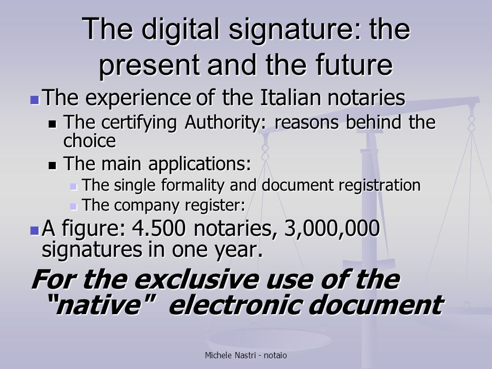 The digital signature: the present and the future