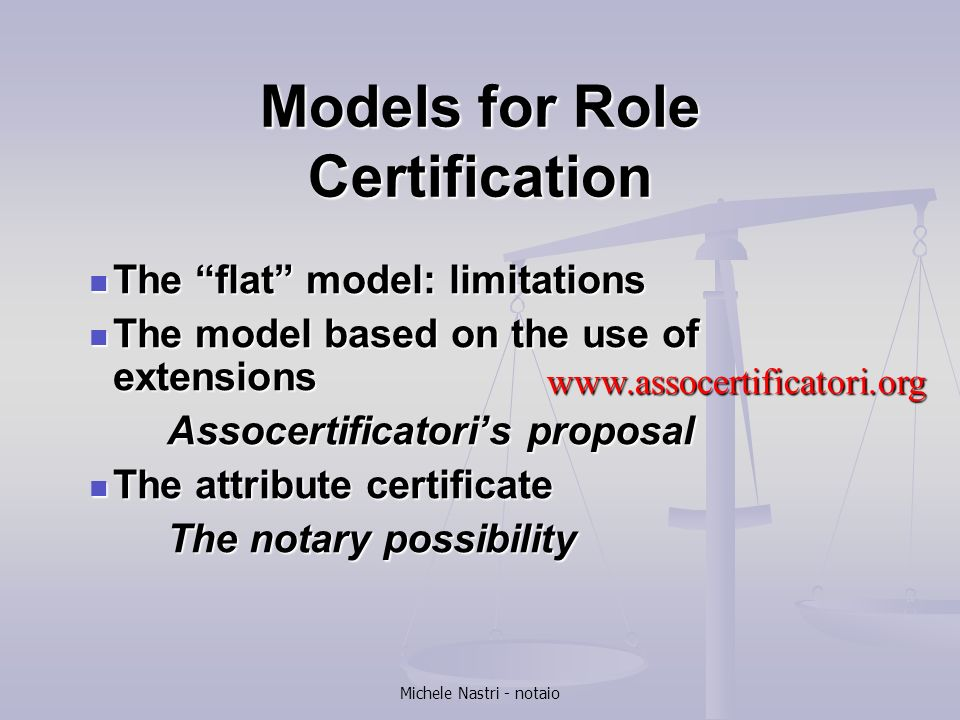 Models for Role Certification