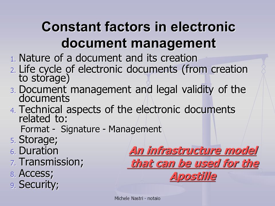 Constant factors in electronic document management
