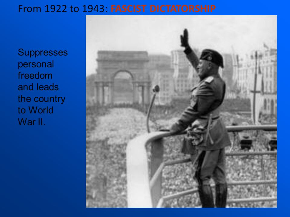 From 1922 to 1943: FASCIST DICTATORSHIP