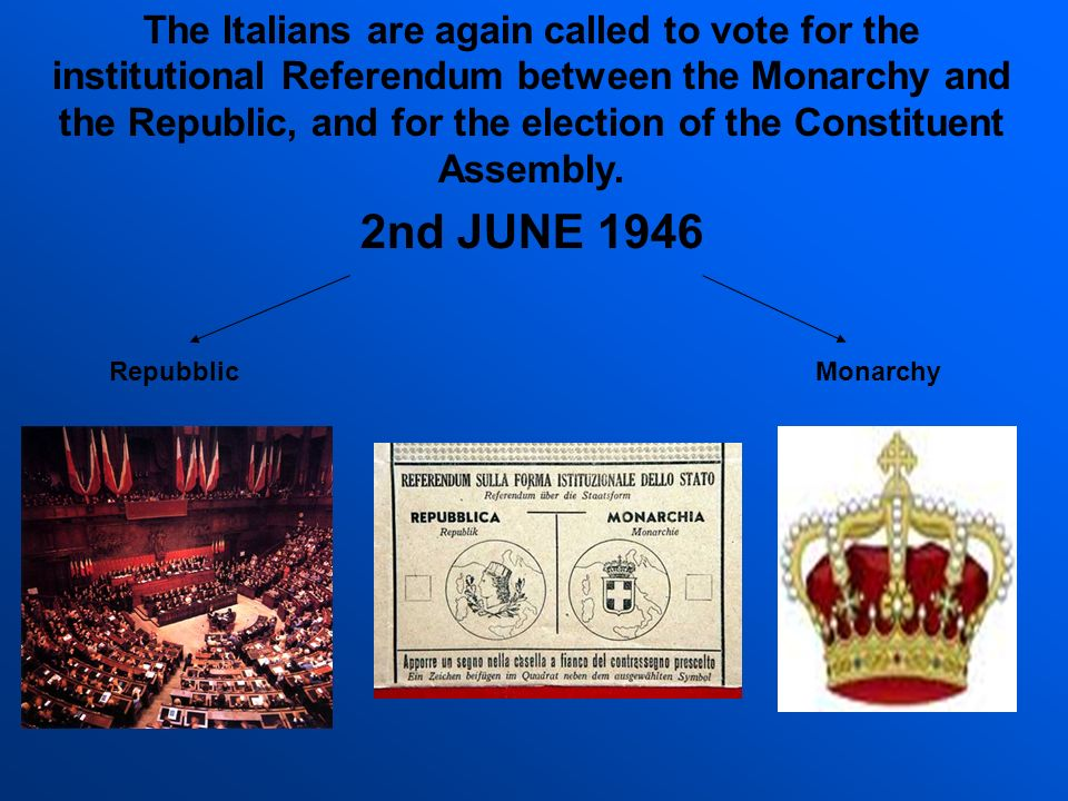 The Italians are again called to vote for the institutional Referendum between the Monarchy and the Republic, and for the election of the Constituent Assembly.