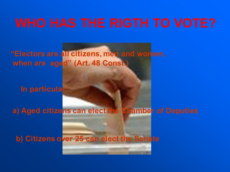 WHO HAS THE RIGTH TO VOTE
