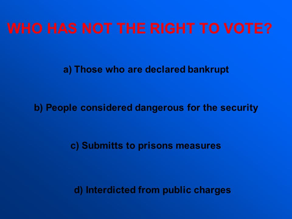 WHO HAS NOT THE RIGHT TO VOTE