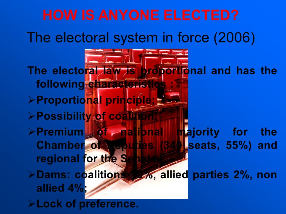 The electoral system in force (2006)