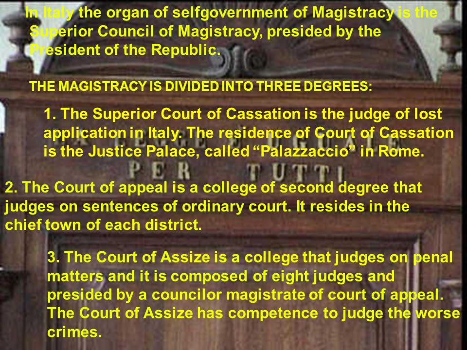 In Italy the organ of selfgovernment of Magistracy is the
