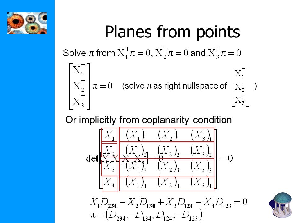 Planes from points Or implicitly from coplanarity condition