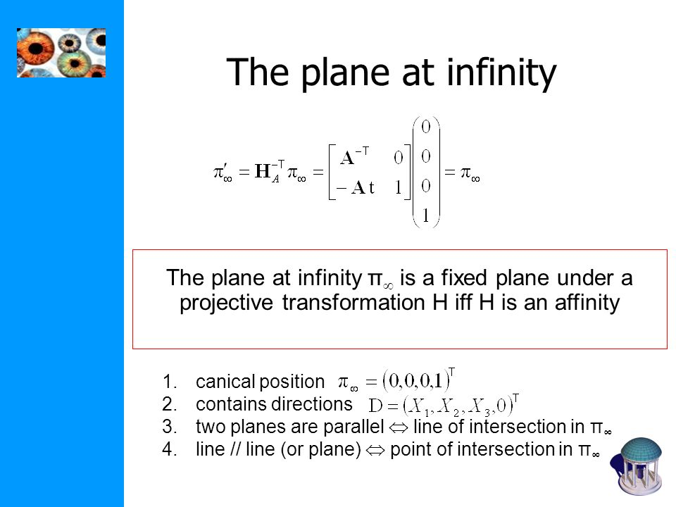 The plane at infinity The plane at infinity π is a fixed plane under a projective transformation H iff H is an affinity.