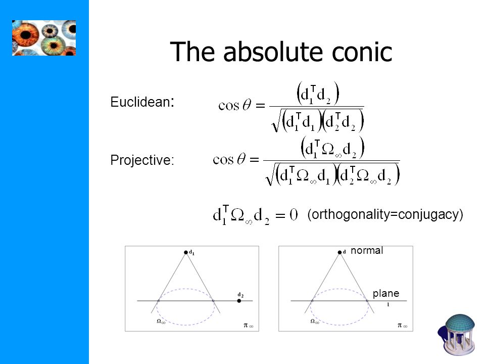 The absolute conic Euclidean: Projective: (orthogonality=conjugacy)