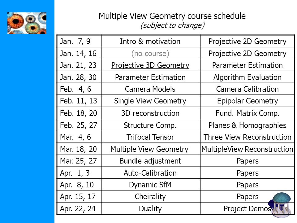 Multiple View Geometry course schedule (subject to change)