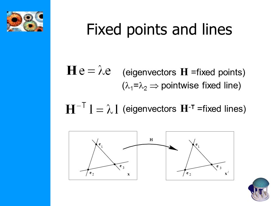 Fixed points and lines (eigenvectors H =fixed points)