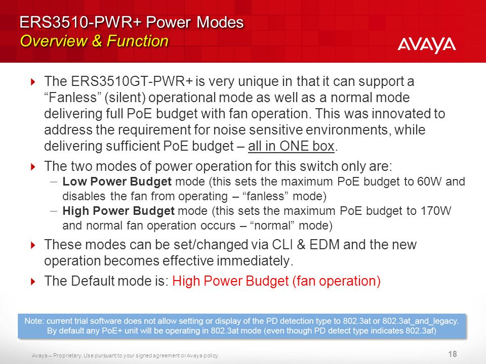 ERS3510-PWR+ Power Modes Overview & Function