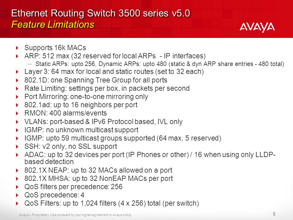 Ethernet Routing Switch 3500 series v5.0 Feature Limitations