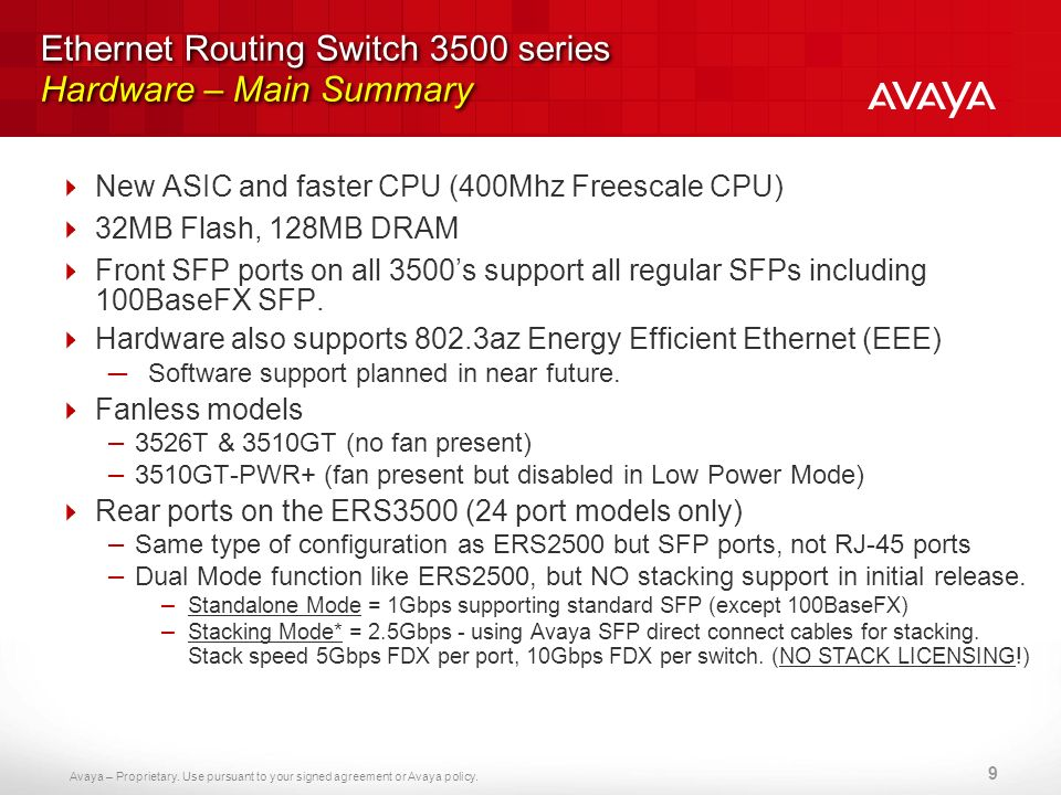 Ethernet Routing Switch 3500 series Hardware – Main Summary