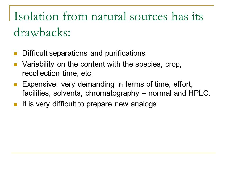 Isolation from natural sources has its drawbacks: