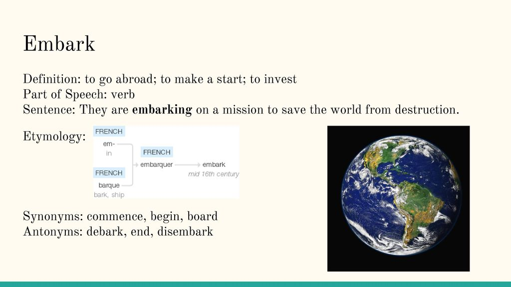 10 Embark Definition: ...