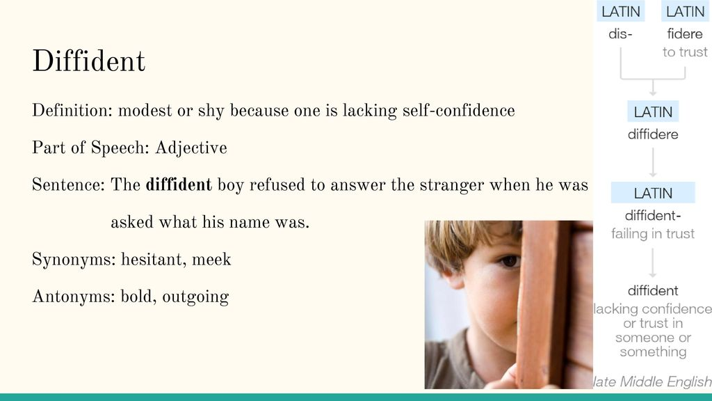 8 Diffident Definition: ...
