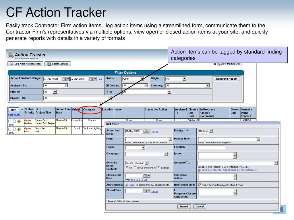 action items tracker
