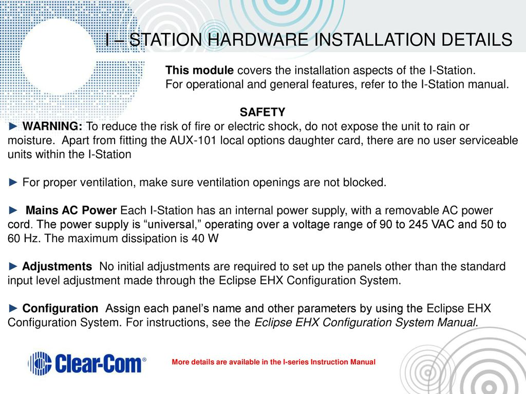 I-Station Hardware, Installation & maintenance - ppt download