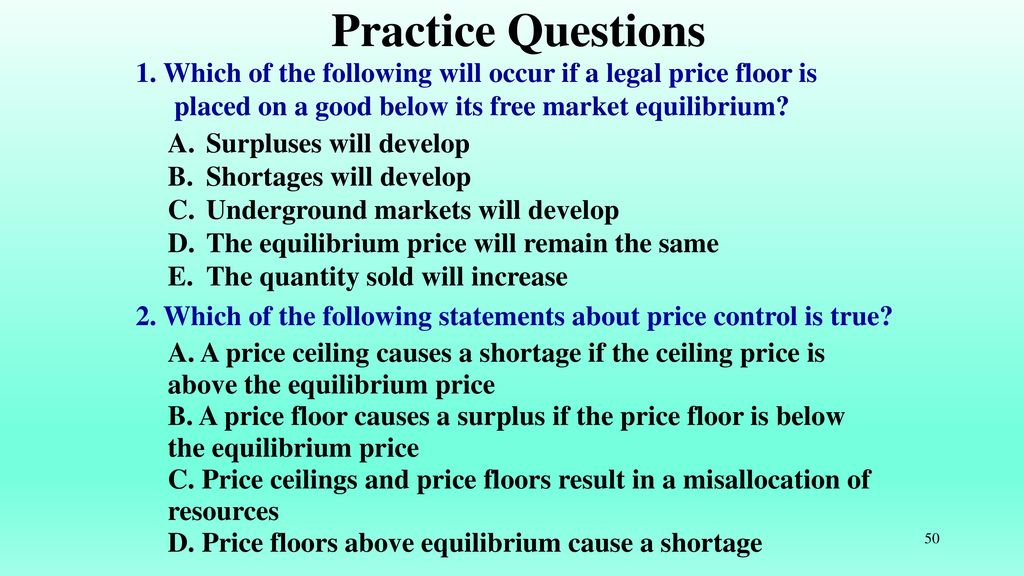 Which Of The Following Will Occur If A Legal Price Floor Is