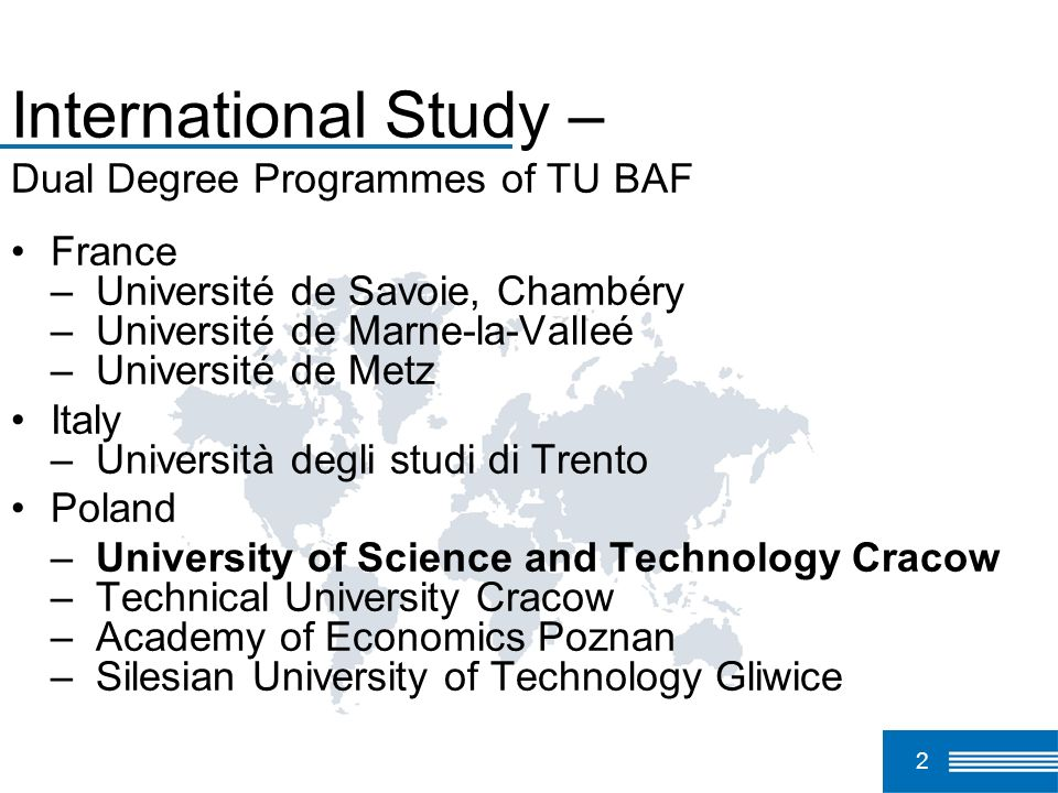 International Study – Dual Degree Programmes of TU BAF