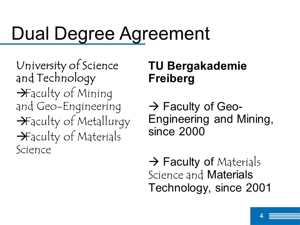 Dual Degree Agreement University of Science and Technology
