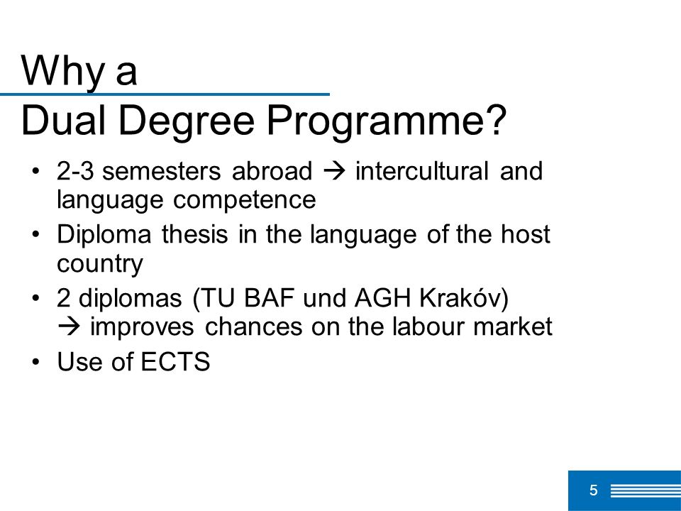 Why a Dual Degree Programme