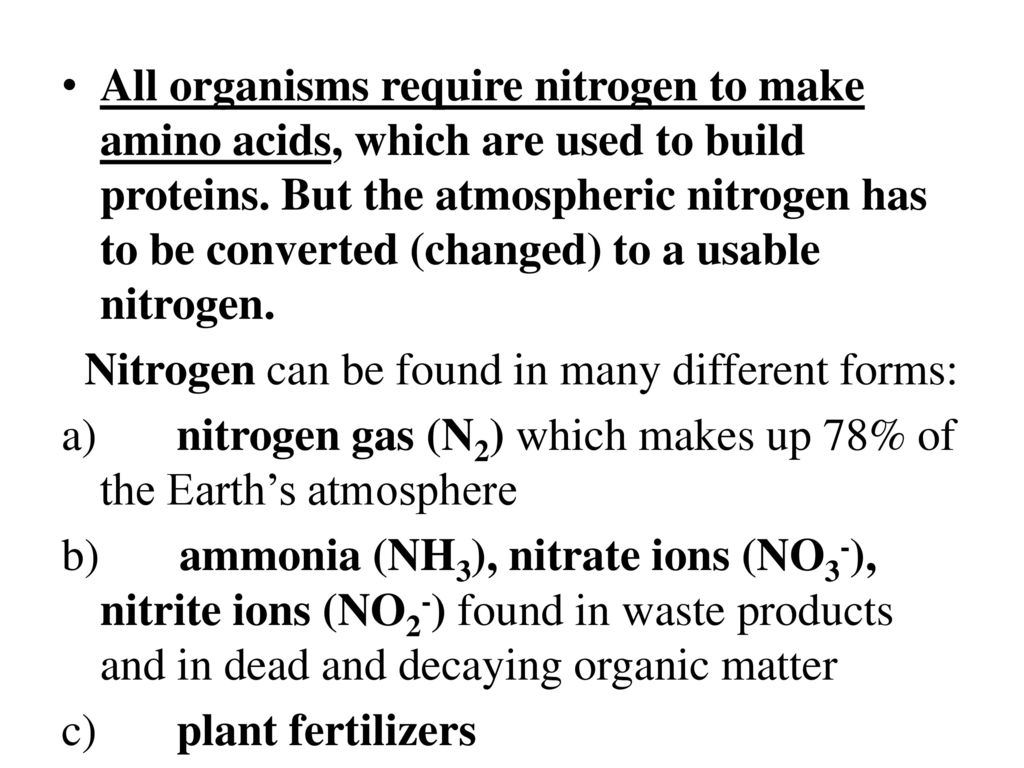 Nitrogen can be found in many different forms: