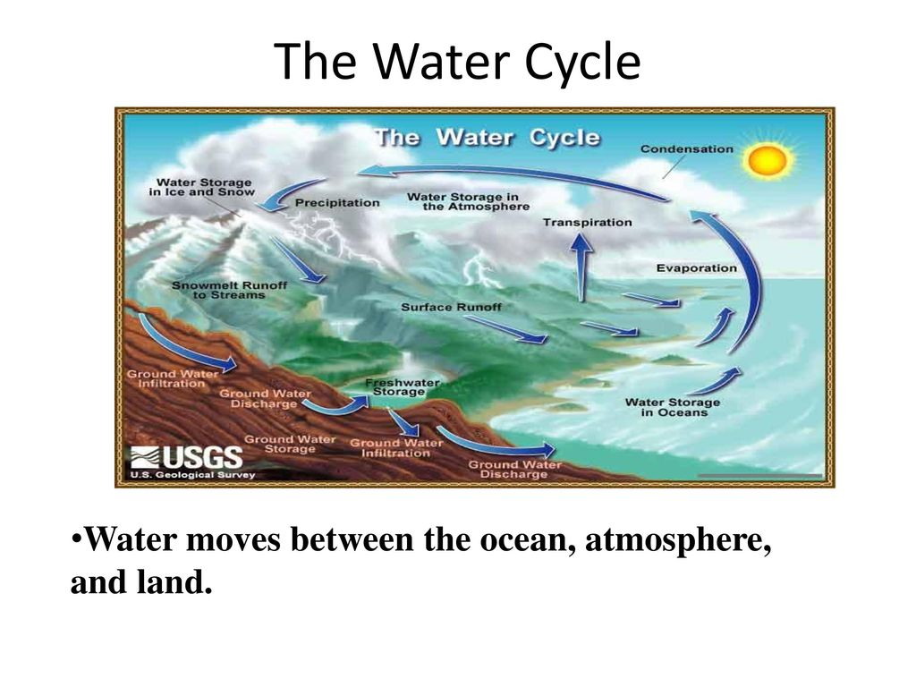 The Water Cycle Water moves between the ocean, atmosphere, and land.